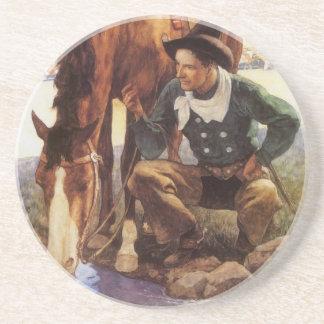 Vintage Art, Cowboy Watering His Horse by NC Wyeth Beverage Coasters