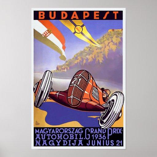 Vintage Art Deco 1936 Hungarian Grand Prix Poster