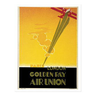 Vintage Art Deco airlines travel ad Postcard