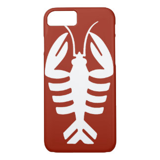 Vintage Art Deco Animal, White Lobster on Red Case-Mate iPhone Case
