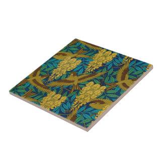 Vintage Art Deco Birds and Leaves Tile