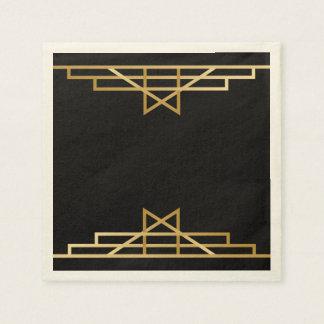 Vintage Art Deco  Black Gold Gatsby Wedding Party Napkin