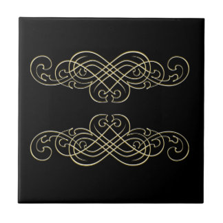 Vintage Art Deco Black White  and Gold Scroll Tile