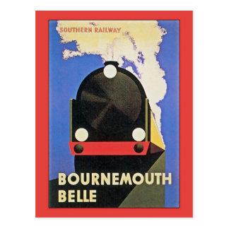 Vintage Art Deco Bournemouth  Belle train ad Postcard
