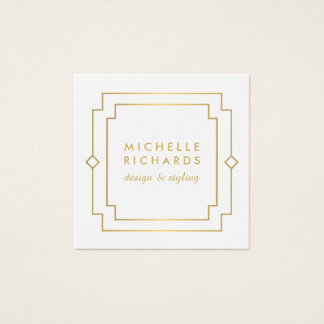 Vintage Art Deco Elegant Gold/White Square Business Card