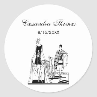 Vintage Art Deco Fashionable Ladies at the Beach Classic Round Sticker