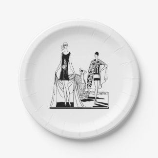 Vintage Art Deco Fashionable Ladies at the Beach Paper Plate