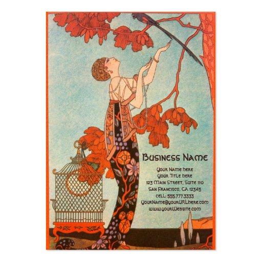 Vintage Art Deco, Flighty Bird by George Barbier Business Card Templates