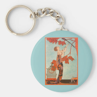 Vintage Art Deco, Flighty Bird by George Barbier Key Chains
