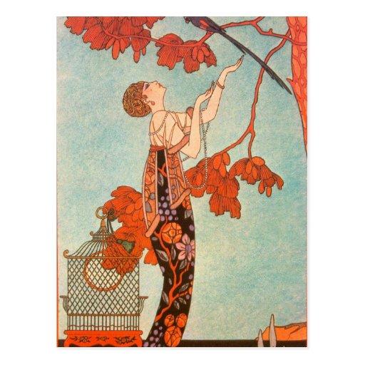 Vintage Art Deco, Flighty Bird by George Barbier Postcard