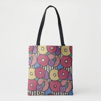 vintage Art deco floral design, colourful Tote Bag