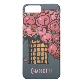Vintage Art Deco Flowers, Pink Garden Roses iPhone 7 Plus Case