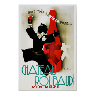Vintage Art Deco French Chateau Wine Alcohol Drink Poster
