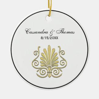 Vintage Art Deco Gold Plume Arabesque Ceramic Ornament