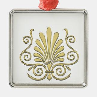 Vintage Art Deco Gold Plume Arabesque Metal Ornament