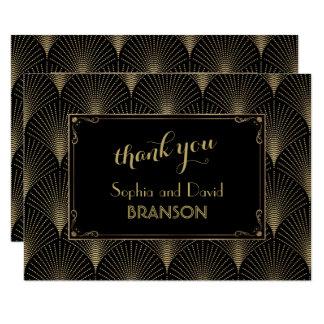 Vintage Art Deco Great Gatsby Wedding THANK YOU Card