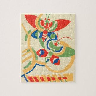 Vintage Art Deco Jazz Pochoir Garden Butterflies Jigsaw Puzzle