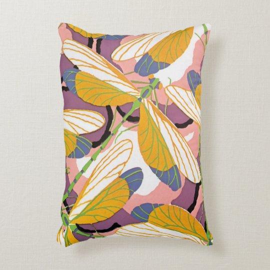 Vintage Art Deco Jazz Pochoir Garden Dragonflies Decorative Pillow