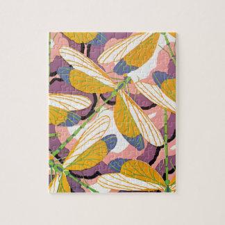 Vintage Art Deco Jazz Pochoir Garden Dragonflies Jigsaw Puzzle