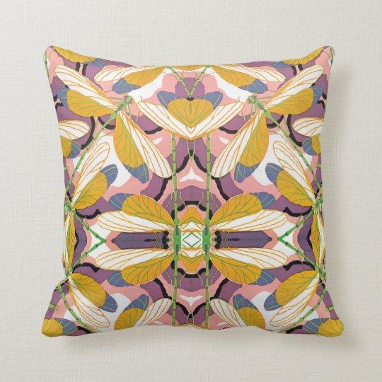 Vintage Art Deco Jazz Pochoir Garden Dragonflies Throw Pillow