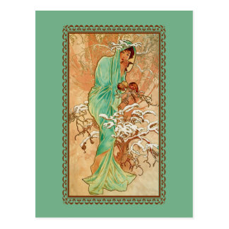Vintage Art Deco Lady Green Golden Tree Postcard