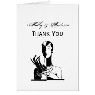 Vintage Art Deco Lady With Pearls Black Transp Card