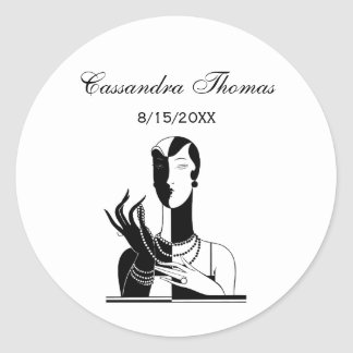 Vintage Art Deco Lady With Pearls Black Transp Classic Round Sticker