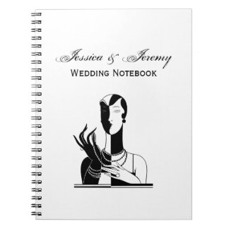 Vintage Art Deco Lady With Pearls Black Transp Spiral Notebook