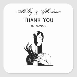 Vintage Art Deco Lady With Pearls Black Transp Square Sticker