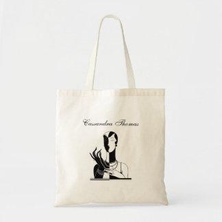Vintage Art Deco Lady With Pearls Black Transp Tote Bag