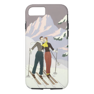 Vintage Art Deco Love and Romance Skiing Newlyweds iPhone 8/7 Case