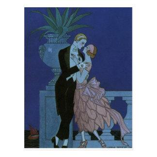 Vintage Art Deco Love Romance Newlyweds Wedding Postcard