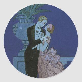 Vintage Art Deco Love Romance Newlyweds Wedding Round Stickers