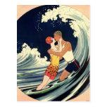 Vintage Art Deco Love Romantic Kiss Beach Wave Postcards