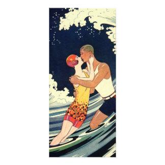 Vintage Art Deco Love Romantic Kiss Beach Wave Rack Card Design