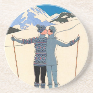 Vintage Art Deco Love Romantic Kiss on Skis Snow Beverage Coasters