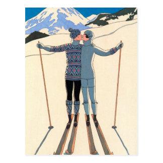 Vintage Art Deco Love Romantic Kiss on Skis Snow Post Cards
