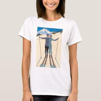 Vintage Art Deco Love Romantic Kiss on Skis Snow T-Shirt