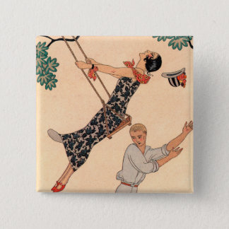 Vintage Art Deco Love, The Swing by George Barbier 2 Inch Square Button