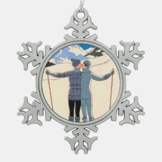 Vintage Art Deco, Lovers in Snow by George Barbier Pewter Snowflake Ornament