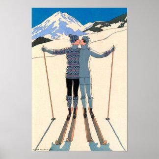 Vintage Art Deco, Lovers in Snow by George Barbier Poster