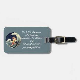Vintage Art Deco Lovers Kiss in the Waves at Beach Luggage Tag