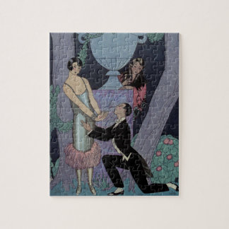 Vintage Art Deco Moonlight Love Triangle Jigsaw Puzzle