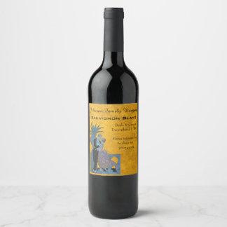 Vintage Art Deco Newlyweds, Love Wedding Dance Wine Label