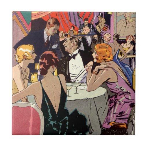 Vintage Art Deco Nightclub Cocktail Party Ceramic Tile