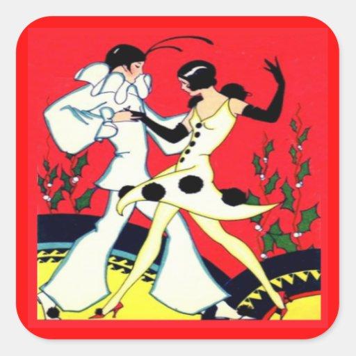 Vintage Art Deco Pierrot Dancers Stickers