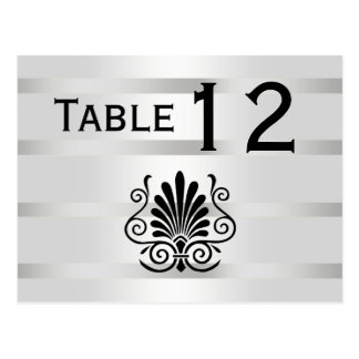 Vintage Art Deco Plume Black White H Table Number Postcard