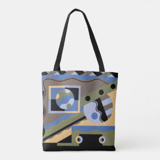 Vintage Art Deco Pochoir Jazz Cubism Pattern Tote Bag