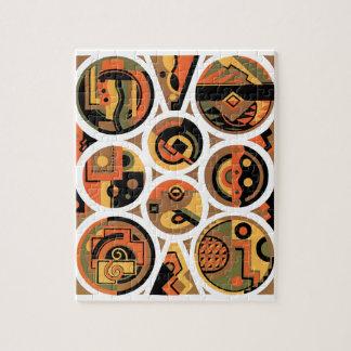 Vintage Art Deco Pochoir Jazz Geometric Circles Jigsaw Puzzle