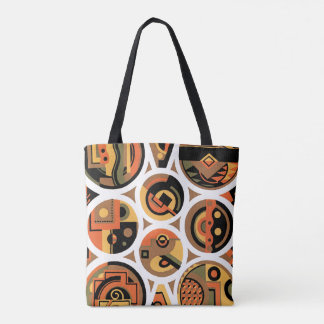 Vintage Art Deco Pochoir Jazz Geometric Circles Tote Bag